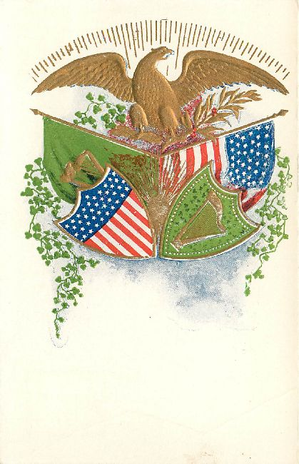 St. Patricks Day Postcard-Flags of the United States and Ireland