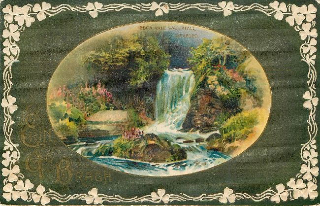 St. Patrick's Day Postcard-Eden Vale Waterfall Wexford