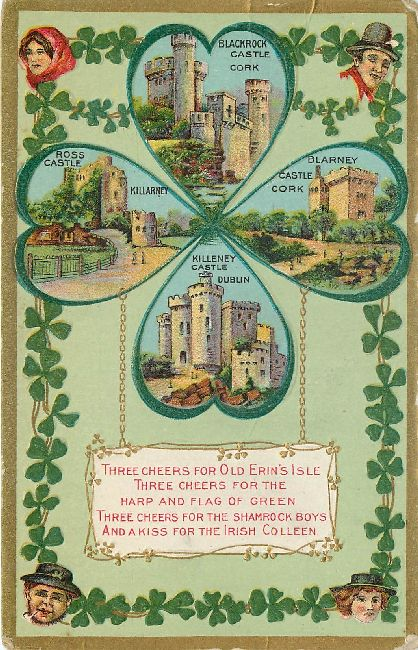 St. Patrick's Day Postcard-Three Cheers for Old Erin's Isle...