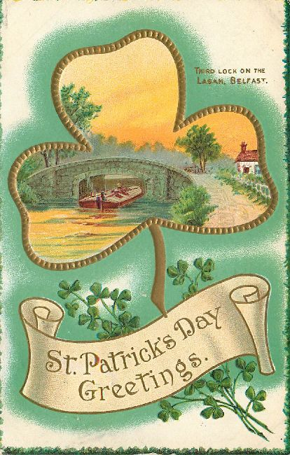 St. Patrick's Day Greeting Postcard - Third Lock on the Lagan,