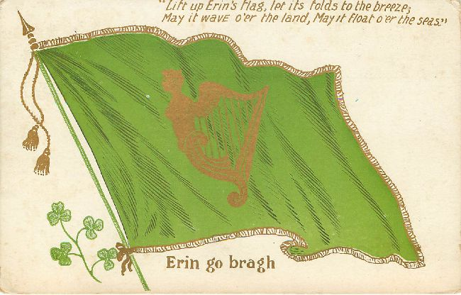 St. Patrick's Day Greeting Postcard-Erin Go Bragh-Lift up Erin's