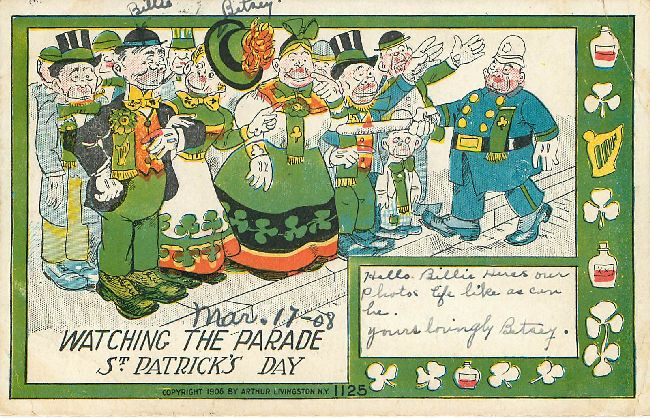 St. Patrick's Day Postcard-Watching the Parade-Dated Mar. 17-08