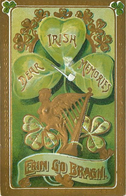 St. Patrick's Day Postcard-Dear Irish Memories-Erin Go Bragh