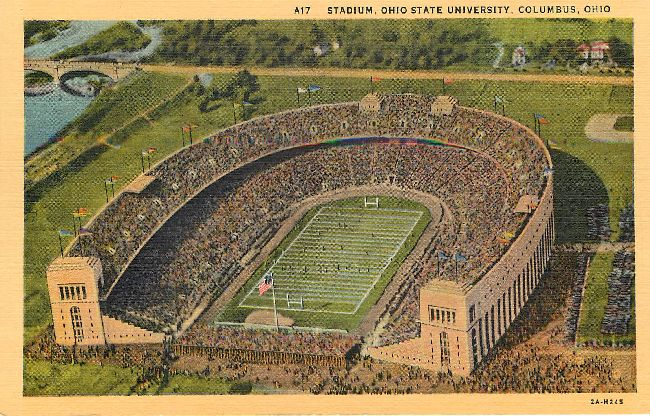 Aerial View of Ohio State University Stadium Postcard