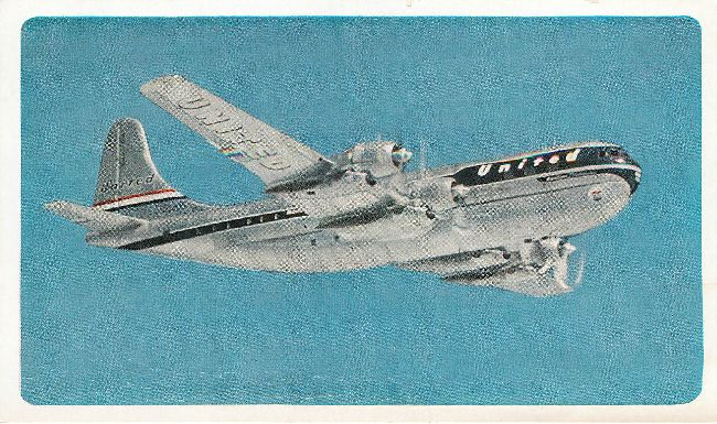 United Twin Deck Mainliner Plane Postcard