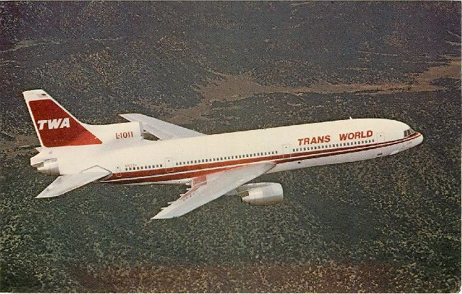 Trans World Airlines Postcard-Lockheed L-1011 Dash 100