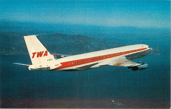 Trans World Airlines Postcard-Boeing 707-131