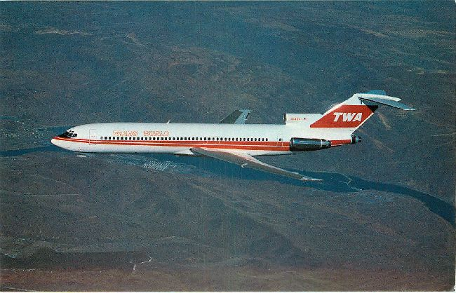Trans World Airlines Postcard-Boeing 727-231A