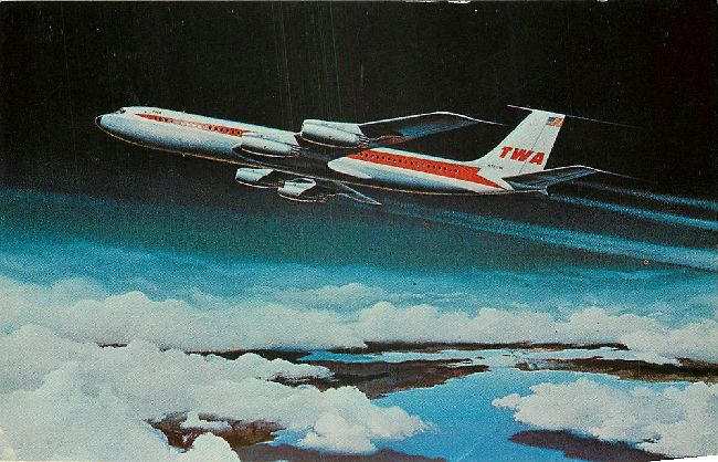 Trans World Airlines Postcard-Giant TWA SuperJets