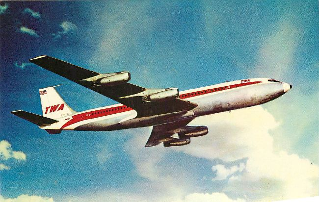 "Trans World Airlines Postcard-""TWA Superjet-Boeing 707"""