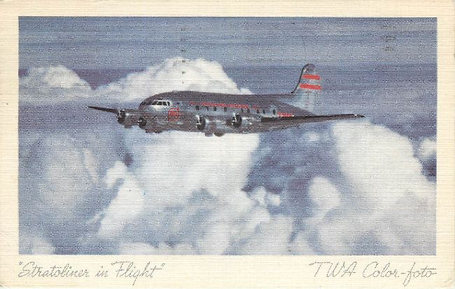 Trans World Airlines Postcard-Stratoliner in Flight
