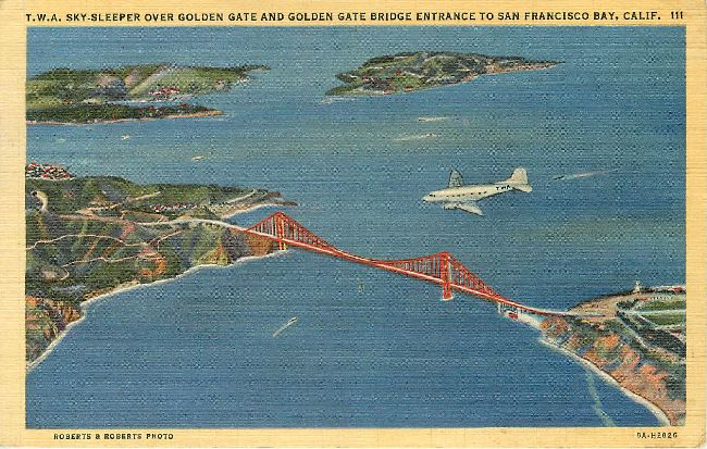 Trans World Airlines Postcard-TWA Sky-Sleeper over Golden Gate