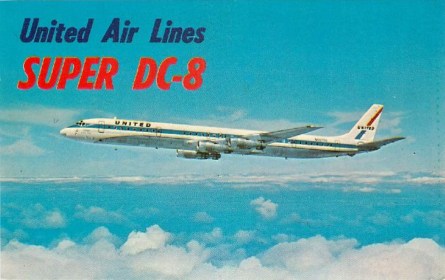 United Airlines Postcard-Super DC-8