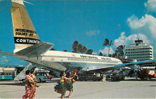 Continental Airlines Postcard International Golden Jet