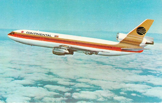 Continental Airlines Postcard-Continental DC-10