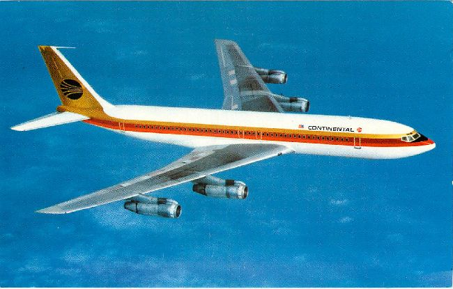Continental Airlines Postcard-Boeing 707-320C