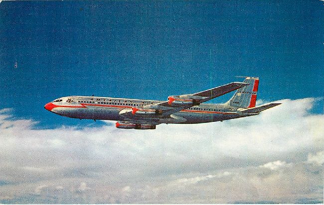 American Airlines Postcard-First with Jets acroos the USA