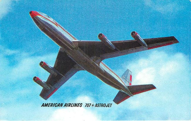 American Airlines Postcard-707 AstroJet