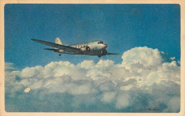 American Airlines Postcard-Route of the Flagships