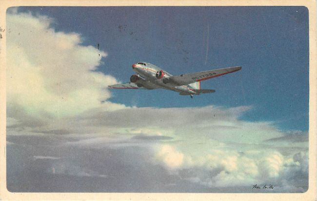 American Airlines Postcard-In Flight, Route of the Flagships