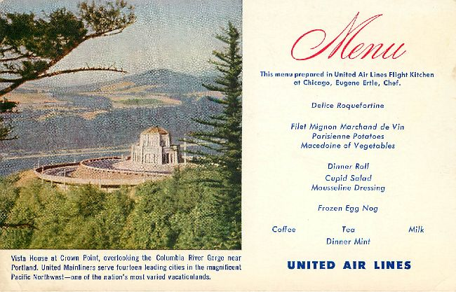United Airlines Menu Postcard at Chicago
