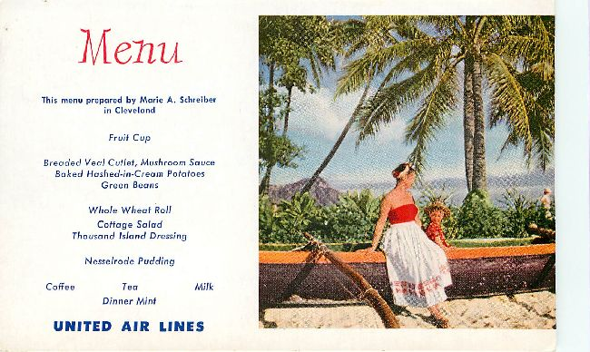 United Airlines Menu Postcard at Chicago Chef, Eugene Ertle
