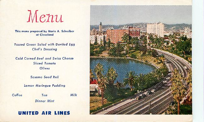 United Airlines Menu Postcard at Cleveland