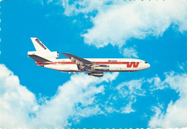 Western Airline Postcard of Plane soaring through the sky