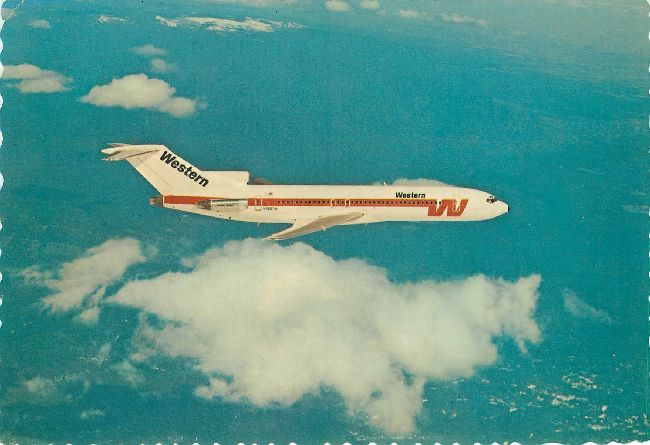 Western Airline Postcard made by Dexter Press 727 Plane