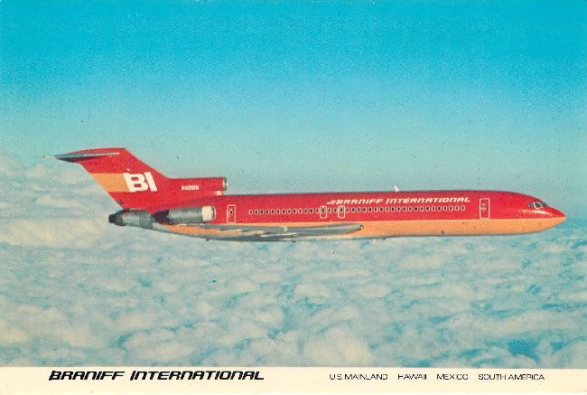 Braniff International Airline Plane Postcard 727 Braniff Place