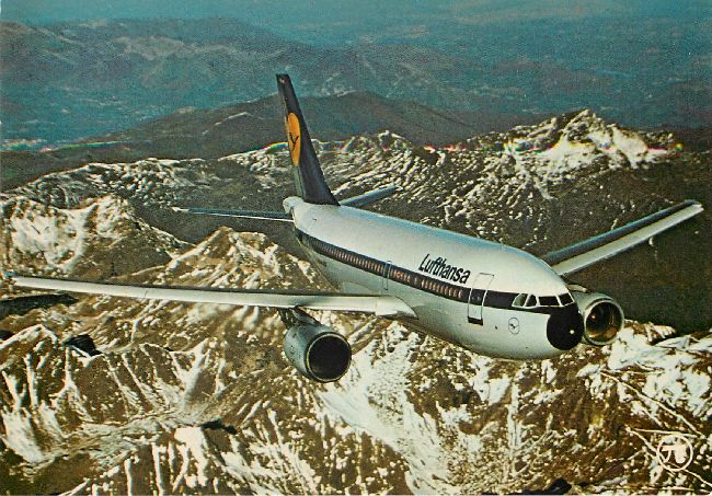 Lufthansa Airline Postcard Airbus A 310 over Snow Capped Mounts