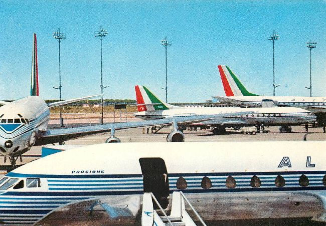 Alitalia Airlines DC.8 and Caravelle Jets Postcard