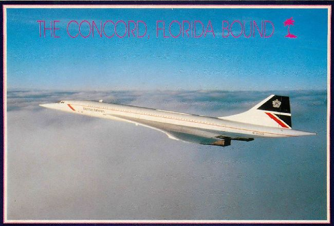 British Airways Postcard The Concord Florida Bound