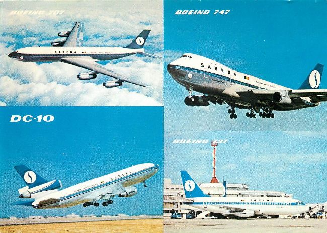 SABENA Belgian World Airlines Postcard featuring four planes