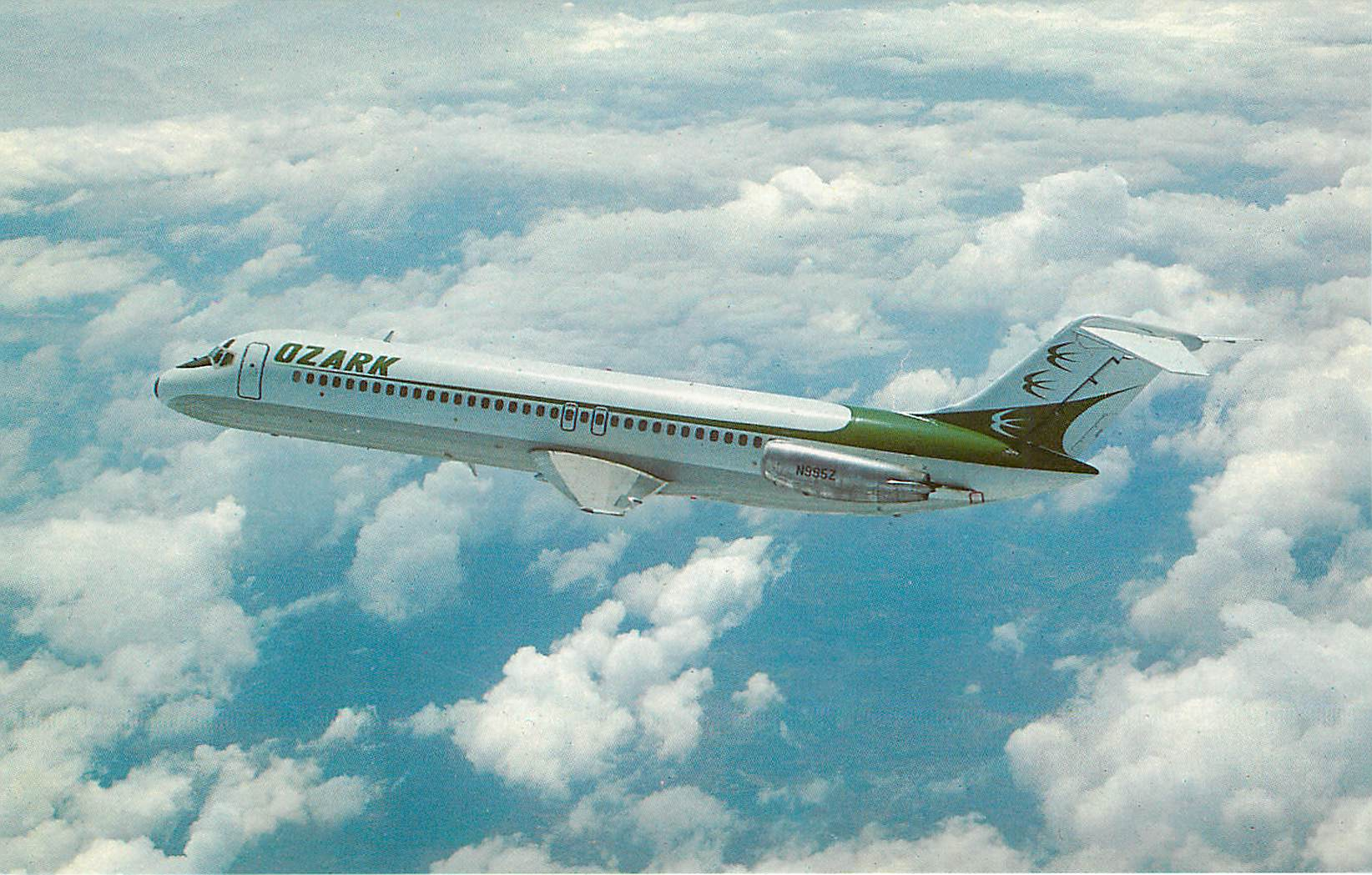 Ozark Airlines Postcard Green and White Plane