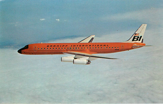 Braniff International Airlines Orange Plane Postcard
