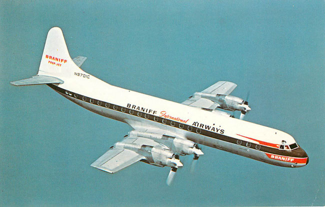 Braniff Inernational Airways Postcard Lockheed L-188 Electra
