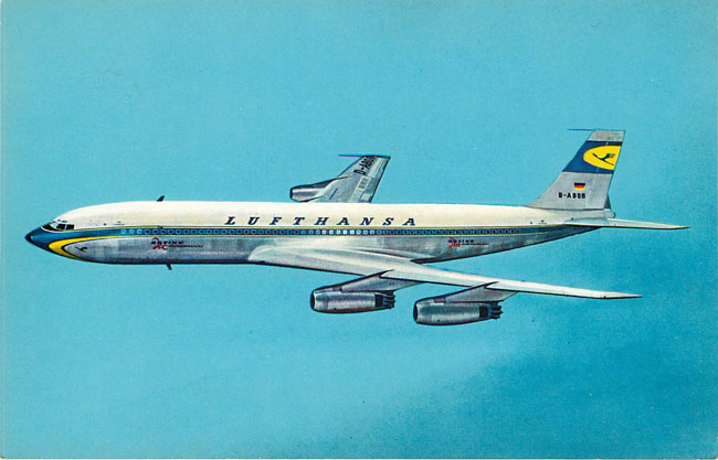 Lufthansa Airlines Postcard Boeing Jet Intercontinental