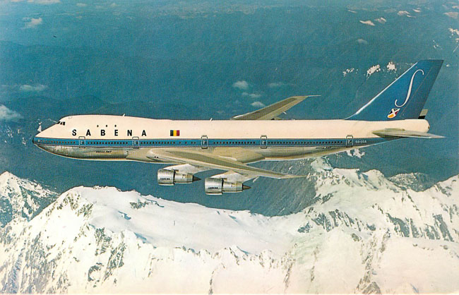 SEBENA Belgian World Airlines Boeing 747 Postcard