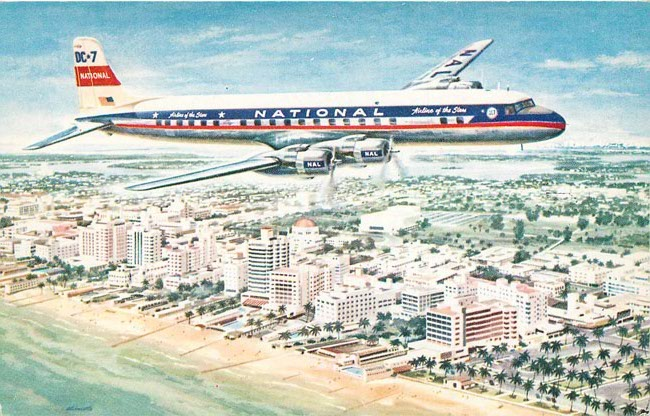 National Airlines DC-7 Postcard