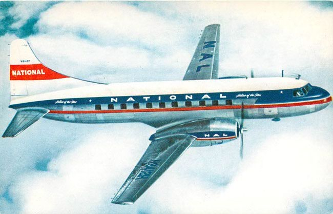 National Airlines Convair 340 Postcard