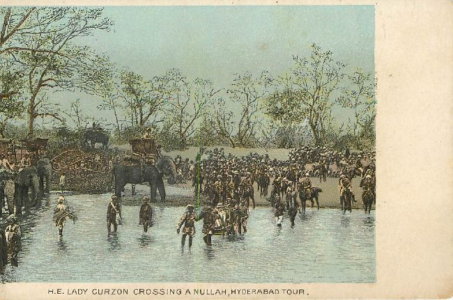 H.E. Lady Curzon Crossing a Nullah, Hyderabad Tour Postcard