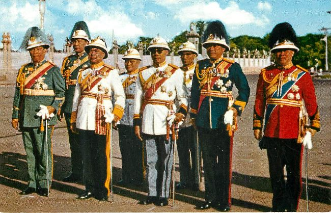 The Prime Minister with Military Aid Bangkok Royal Postcard