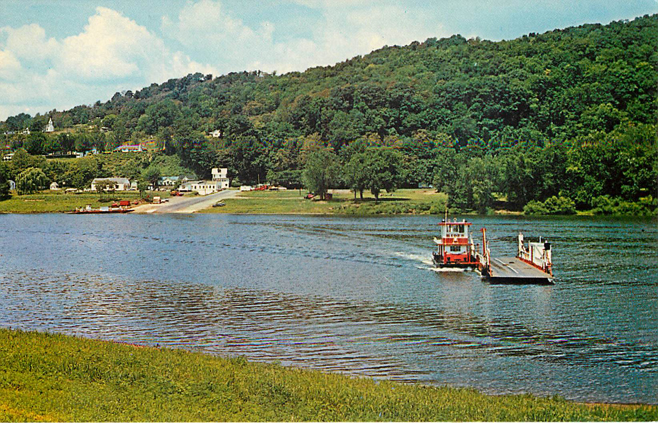 The Beautiful Ohio Ferry Boat Crossing Postcard