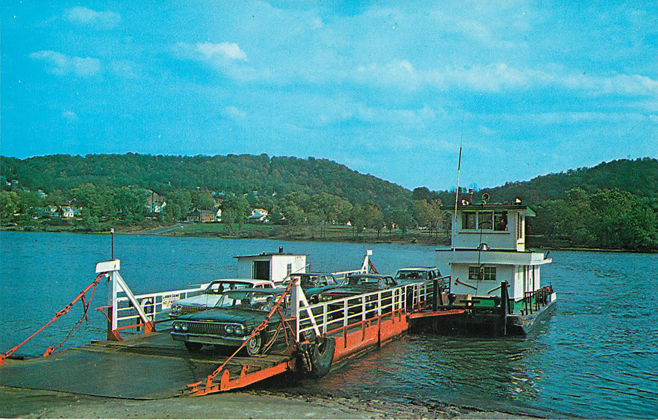 The Beautiful Ohio Ferry Crossing Postcard