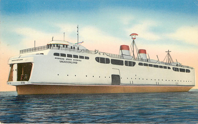 Vacationland Ferry Postcard Postmarked 1952