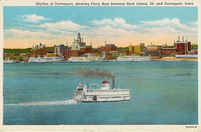 Ferry Boat between Rock Island & Davenport Iowa Postcard