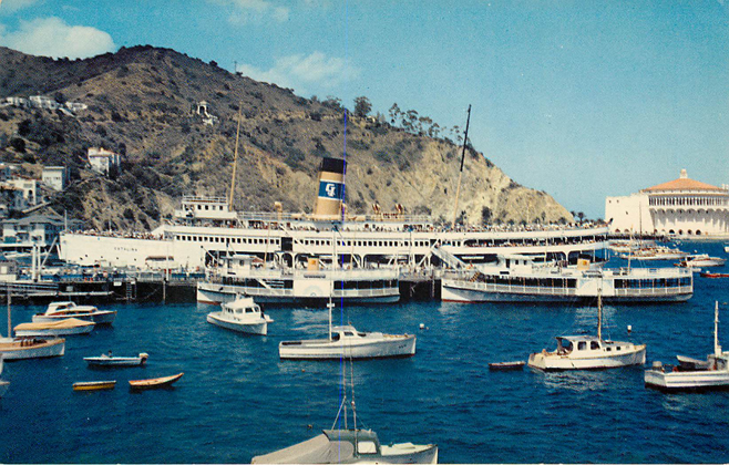 The Steamer Pier at Avalon Catalina Island, CA Boat Postcard