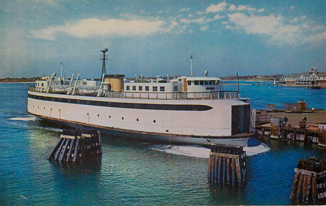 The Islander at Woods Hole, Massacusetts Ferry Boat Postcard