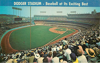 Baseball Postcard - Dodger Stadium-Baseball at Its Exciting Best